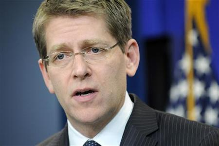 White House Press Secretary Jay Carney holds his daily briefing for reporters at the White House in Washington, February 17, 2011. REUTERS/Jonathan Ernst