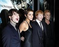 "<p>Actors (L-R) Daniel Radcliffe, Emma Watson, Rupert Grint and Tom Felton pose at the premiere of ""Harry Potter and the Deathly Hallows: Part 1"" in New York November 15, 2010. REUTERS/Shannon Stapleton</p>"
