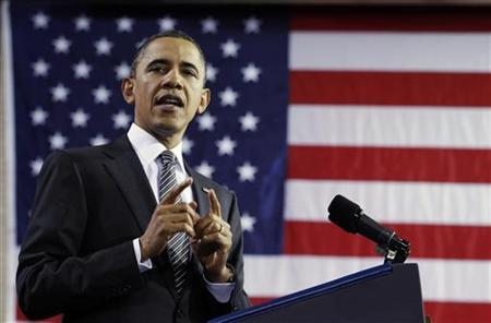President Barack Obama delivers remarks at TechBoston Academy in Boston, March 8, 2011. REUTERS/Jim Young