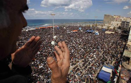 Protesters attend Friday prayers in Benghazi March 11, 2011. REUTERS/Suhaib Salem