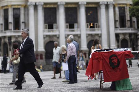 A t-shirt with an image of Ernesto Che Guevara for sale in Cinelandia Square, where President Obama will be giving a speech, in Rio de Janeiro, March 15, 2011. REUTERS/Ricardo Moraes