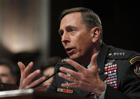 U.S. General David Petraeus, commander of the international security assistance force and commander of U.S. Forces in Afghanistan, testifies at a Senate Armed Services committee hearing on the situation in Afghanistan, on Capitol Hill in Washington, March 15, 2011. REUTERS/Jason Reed