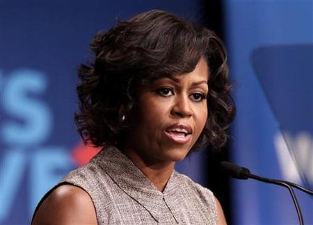 U.S. First Lady Michelle Obama speaks at the Walmart announcement initiative to make food healthier and more affordable in Washington, January 20, 2011. REUTERS/Yuri Gripas
