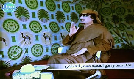 Libya's leader Muammar Gaddafi is shown in a still image from video, during an interview with Lebanon's LBC television in Tripoli March 15, 2011. REUTERS/LBC