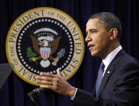 U.S. President Barack Obama speaks at a news conference at the Eisenhower Executive Office Building in Washington, March 11, 2011. REUTERS/Jim Young