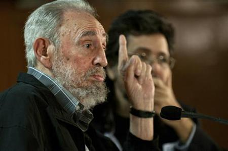 Former Cuban leader Fidel Castro speaks during a meeting with Cuban and foreign intellectuals visiting Havana's international book fair February 15, 2011. REUTERS/Roberto Chile/Cubadebate/Handout