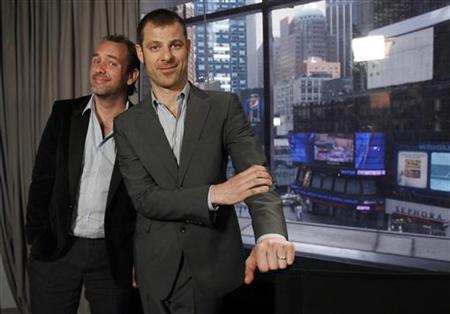 South Park creators Matt Stone (R) and Trey Parker pose for a photo in New York March 18, 2011. REUTERS/Jessica Rinaldi