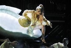 "<p>Lady Gaga steps out of a translucent egg to perform her new song ""Born This Way"" at the 53rd annual Grammy Awards in Los Angeles, California February 13, 2011. REUTERS/Lucy Nicholson</p>"