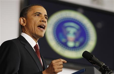 President Barack Obama speaks about the conflict in Libya during an address at the National Defense University in Washington, March 28, 2011. REUTERS/Larry Downing
