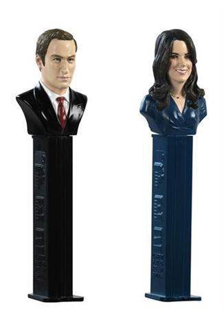 A set of commemorative Pez dispensers to celebrate the wedding of Britain's Prince William and Kate Middleton,. REUTERS/PEZ AG
