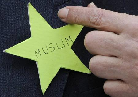 Abderrahmane Dahmane, former diversity adviser of French President Nicolas Sarkozy, points to a green star during a news conference in front of the Grande Mosque of Paris March 29, 2011. REUTERS/Gonzalo Fuentes