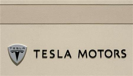 The logo for Tesla Motors is shown at the company headquarters in San Carlos, California June 30, 2008. REUTERS/Robert Galbraith