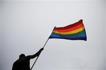 A man holds a flag as he takes part in an annual Gay Pride Parade in Toronto June 28, 2009. REUTERS/Mark Blinch