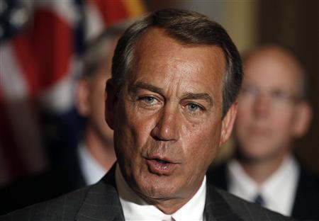 Speaker of the House John Boehner speaks in front of fellow GOP leaders about Senate Democrats and their failure to pass a long-term bill to cut spending and keep the U.S. government running while on Capitol Hill in Washington, March 29, 2011. REUTERS/Larry Downing