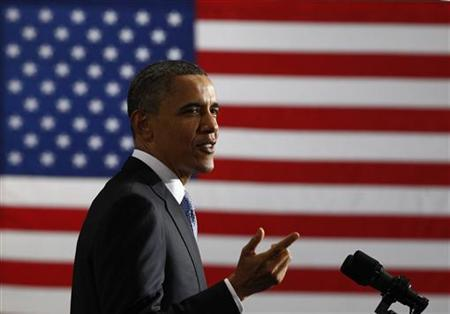 President Barack Obama delivers remarks at a UPS shipping facility in Landover, Maryland April 1, 2011. REUTERS/Jim Young