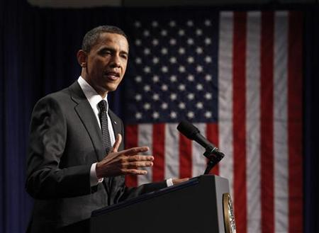 President Obama delivers remarks at the dedication of the Ronald H. Brown United States Mission to the United Nations Building in New York, March 29, 2011. REUTERS/Jim Young