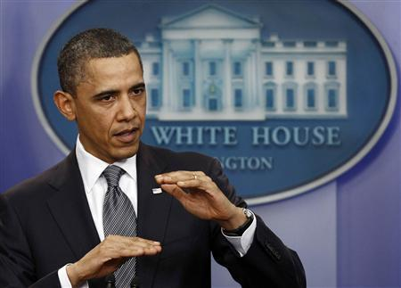 President Barack Obama speaks during a news conference at the White House in Washington, April 5 , 2011. REUTERS/Jim Young