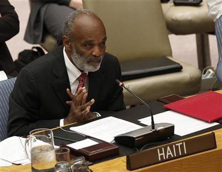 Haitian President Rene Preval speaks during a Security Council meeting on Haiti at the U.N. headquarters at the U.N. headquarters in New York, April 6, 2011. REUTERS/Shannon Stapleton