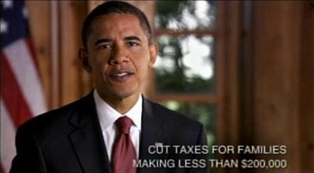 Then Democratic presidential nominee Senator Barack Obama (D-IL) makes his case for being elected president in this frame grab from a 30-minute infomercial-style address released October 29, 2008. REUTERS/Obama For President Campaign/Handout