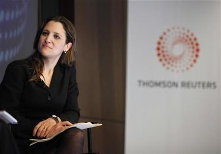 Chrystia Freeland, Global Editor-at-Large for Reuters, listens while moderating an interview with Mohamed El-Erian, Chief Executive Officer and Co-Chief Investment Officer for PIMCO, at Thomson Reuters in New York March 31, 2011. Freeland has been named to the new position of editor of Thomson Reuters Digital as Thomson Reuters Corp puts more emphasis on Internet and mobile applications for its consumer news products. REUTERS/Shannon Stapleton