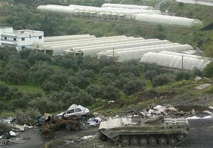A tank is seen in the Syrian port city of Banias April 10, 2011. REUTERS/Handout