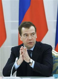 Russian President Dmitry Medvedev gestures during his meeting with representatives of noncommercial organisations at the Gorki presidential residence outside Moscow April 8, 2011. REUTERS/Vladimir Rodionov/RIA Novosti/Kremlin/Handout