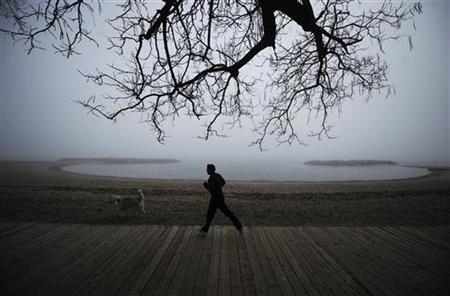 A man jogs with his dog on a foggy day at the beaches of Toronto, April 7, 2011. REUTERS/Mark Blinch