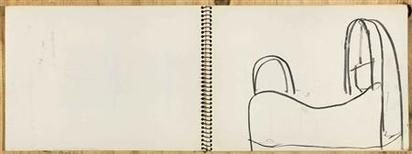 "<p>A 1991 sketch by American artist Richard Serra depicting ""Notre Dame du Haut,"" a chapel designed by architect Le Corbusier in Ronchamp France. REUTERS/Copyright Richard Serra</p>"