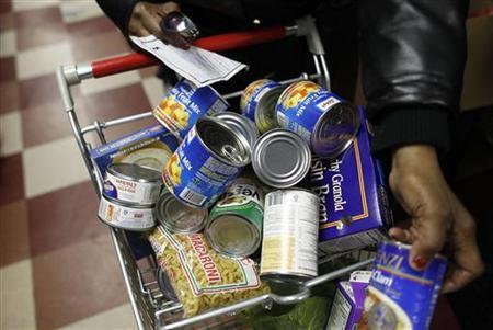 Food pantry items are seen at the Food Bank For New York City Community Kitchen & Food Pantry of West Harlem in New York December 21, 2010. REUTERS/Shannon Stapleton