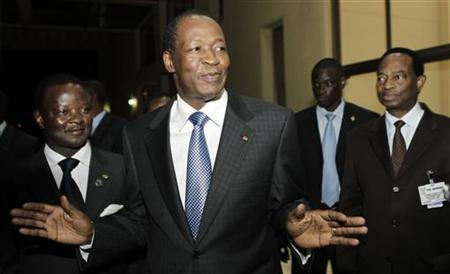 Burkina Faso's President Blaise Compaore talks to the media at the African Union Summit in Ethiopia's capital Addis Ababa January 28, 2011. REUTERS/Thomas Mukoya
