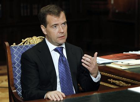 Russian President Dmitry Medvedev gestures during his meeting with Minister for Education and Science Andrei Fursenko, in the residence at Gorki outside Moscow April 19, 2011. REUTERS/Vladimir Rodionov/RIA Novosti/Kremlin