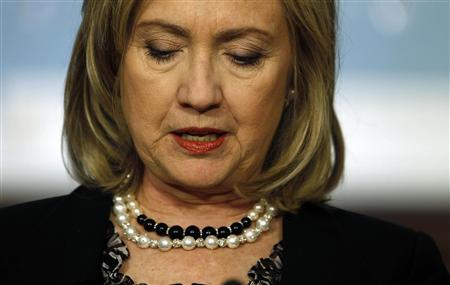 Secretary of State Hillary Clinton at the State Department in Washington, April 20, 2011. REUTERS/Larry Downing