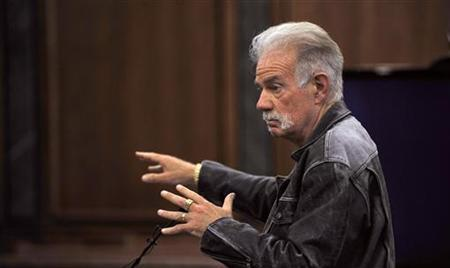 Gainesville Florida pastor Terry Jones makes his closing statement to the jury in the 19th District Dearborn Court during a hearing in front of Judge Mark Somers about Jones' right to protest in Dearborn, Michigan, April 22, 2011. REUTERS/John T. Greilick /The Detroit News/Pool