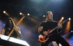 <p>James Hetfield (R), lead vocalist of heavy metal band Metallica, and bassist Robert Trujillo perform during a concert in Tel Aviv May 22, 2010. REUTERS/Amir Cohen</p>
