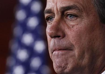 House Speaker John Boehner (R-OH) listens to questions during a news conference on Capitol Hill in Washington, April 14, 2011. REUTERS/Jim Young