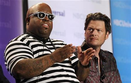 Coaches Cee Lo Green (L) and Blake Shelton attend the NBC panel for the television show ''The Voice'' during the Television Critics Association summer press tour in Pasadena, California April 15, 2011. REUTERS/Mario Anzuoni