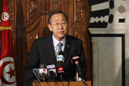 U.N. Secretary-General Ban Ki-moon speaks at a news conference in Tunis March 22, 2011. REUTERS/Zoubeir Souissi