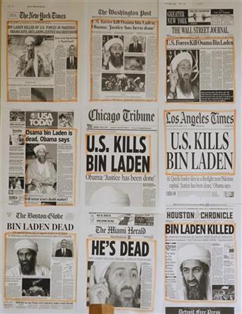 Titelseiten US-amerikanischer Zeitungen in einem Büro des Weißen Hauses in Washington am 2. Mai 2011. REUTERS/Jason Reed