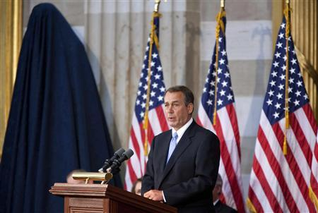 Speaker of the House John Boehner speaks before the unveiling of a statue of former President Gerald Ford in the Rotunda of the U.S. Capitol in Washington May 3, 2011. REUTERS/Joshua Roberts (U