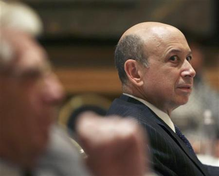 CEO of Goldman Sachs Lloyd C. Blankfein listens to U.S. President Barack Obama speak at the annual meeting of the Business Council at the Park Hyatt Hotel in Washington, May 4, 2010. REUTERS/Larry Downing