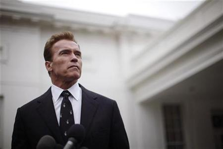 Former California Governor Arnold Schwarzenegger outside the West Wing of the White House, February 22, 2010. REUTERS/Jason Reed