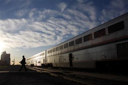 A passenger train is seen in Holdrege, Nebraska June 13, 2008. REUTERS/Joshua Lott
