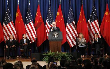 U.S. Vice President Joe Biden (C) speaks at the third annual U.S.-China Strategic and Economic Dialogue (S&ED) at the Department of the Interior in Washington May 9, 2011. REUTERS/Kevin Lamarque