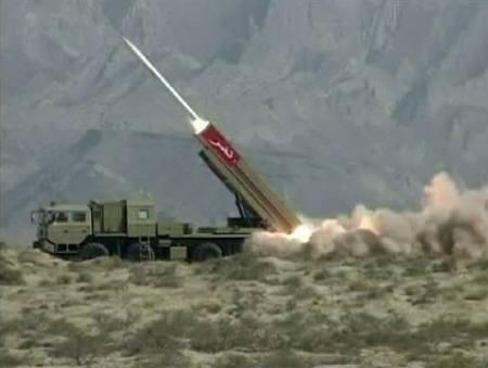 This still image from a Pakistan military handout video shows a Hatf IX (NASR) missile being fired during a test at an undisclosed location in Pakistan April 19, 2011. REUTERS/Pakistan Military Inter Services Public Relations (ISPR) via Reuters TV/ Handout