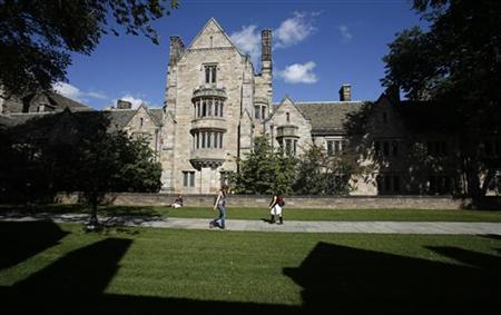 Students walk on the campus of Yale University in New Haven, Connecticut, October 7, 2009. REUTERS/Shannon Stapleton