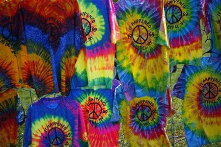 T-shirts on sale near the site of the original Woodstock Music Festival in Bethel, New York, in a file photo. REUTERS/Eric Thayer