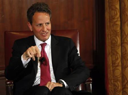U.S. Treasury Secretary Timothy Geithner speaks at the Harvard Club in New York  May 17, 2011. REUTERS/Shannon Stapleton