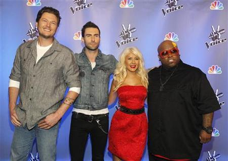 Singers (L-R) Blake Shelton, Adam Levine, Christina Aguilera and Cee Lo Green pose during a media event for the upcoming television series ''The Voice'' in Los Angeles March 15, 2011. REUTERS/Mario Anzuoni