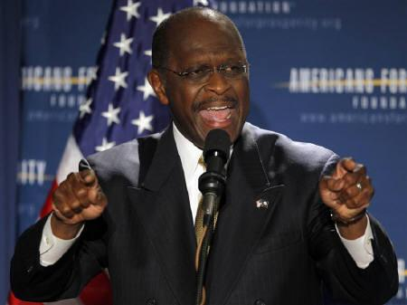 Businessman and likely Republican presidential candidate Herman Cain speaks at the Americans for Prosperity Foundation's ''Presidential Summit on Spending and Job Creation'' in Manchester, New Hampshire April 29, 2011.  REUTERS/Brian Snyder/Files