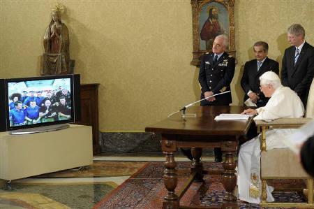 Pope Benedict XVI addresses astronauts on the International Space Station via a video-link, at the press hall at the Vatican May 21, 2011. REUTERS/Osservatore Romano